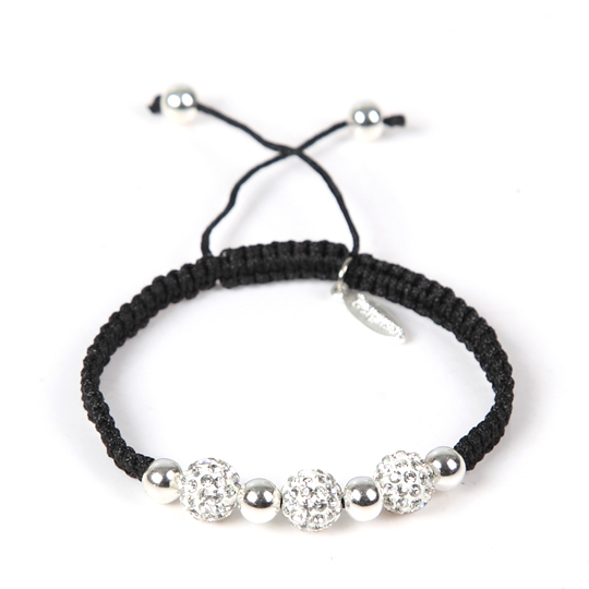 Black Cord with silver swarovski stones