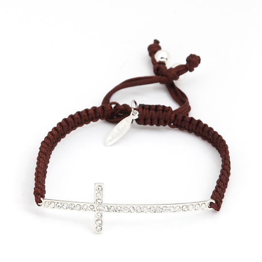 Black cord with silver cross