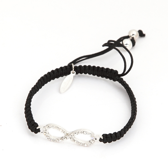 Black Cord silver infinity with stones