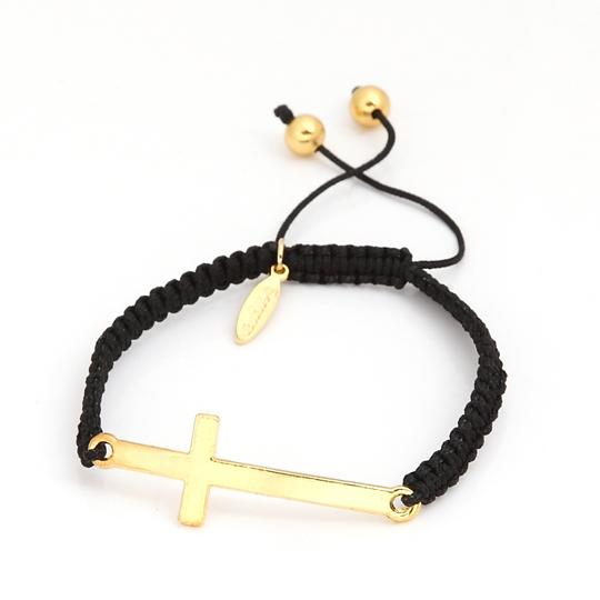 Black Cord with gold plain cross