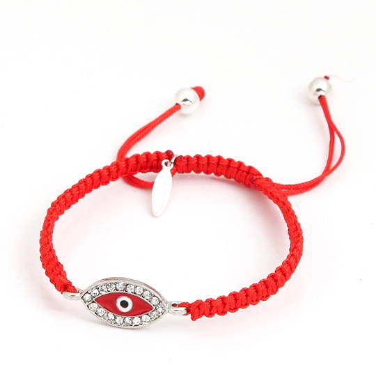 Red cord with silver eye