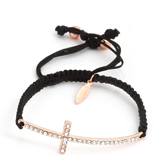 Black Cord with rose gold cross