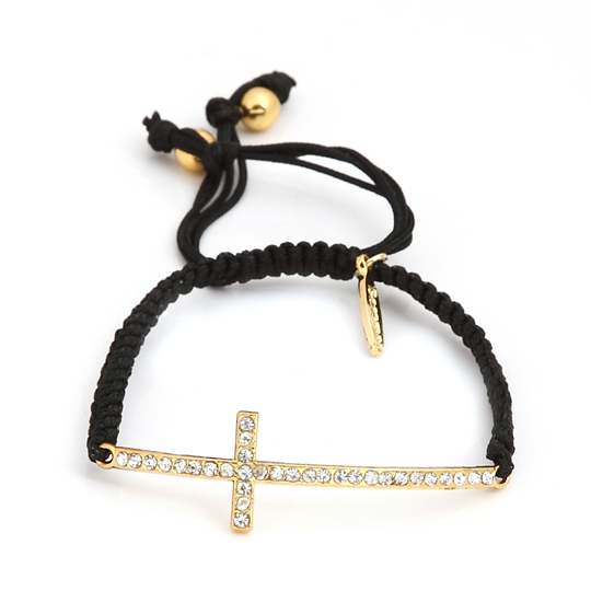 Black Cord with gold cross