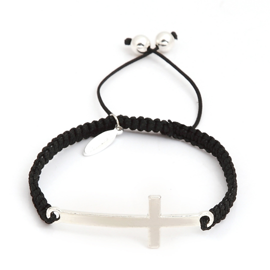 Black cord with silver plain cross