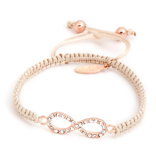 Cream Cord rose gold Crystals Infinity