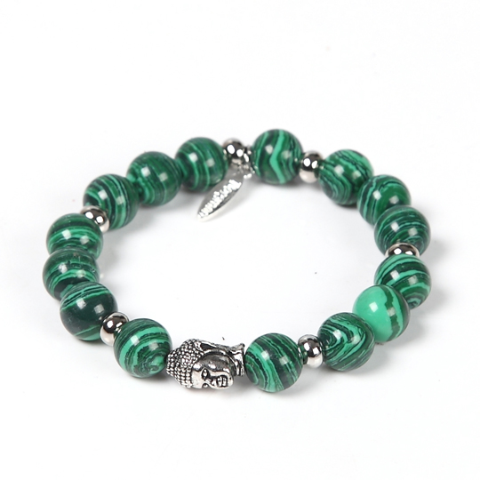 green beads with silver buddha