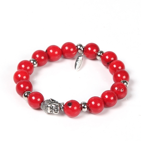 Buddha Red Coral beads bracelet